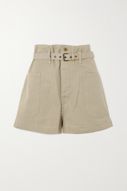 Isabel Marant Étoile - Rike Belted Cotton And Linen-blend Shorts - Beige