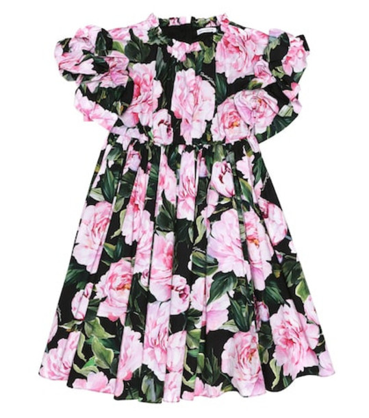Dolce & Gabbana Kids Floral cotton dress in pink