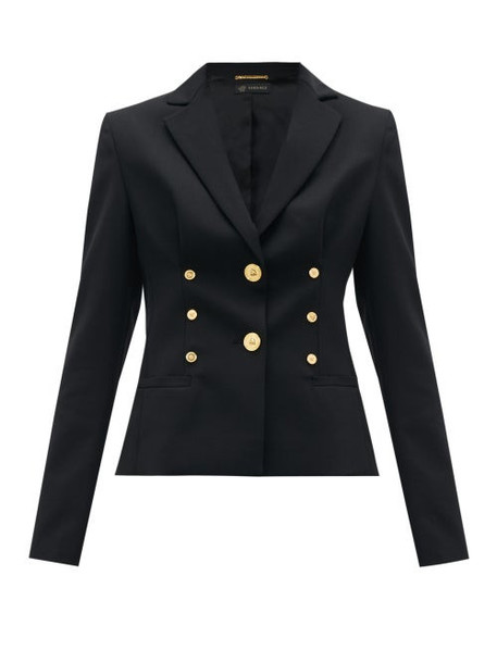 Versace - Medusa-button Cropped Wool-blend Blazer - Womens - Black