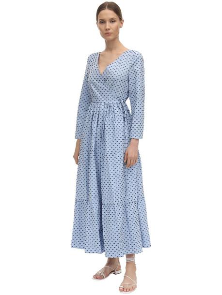 BAUM UND PFERDGARTEN Point D'esprit Poplin Wrap Midi Dress in blue