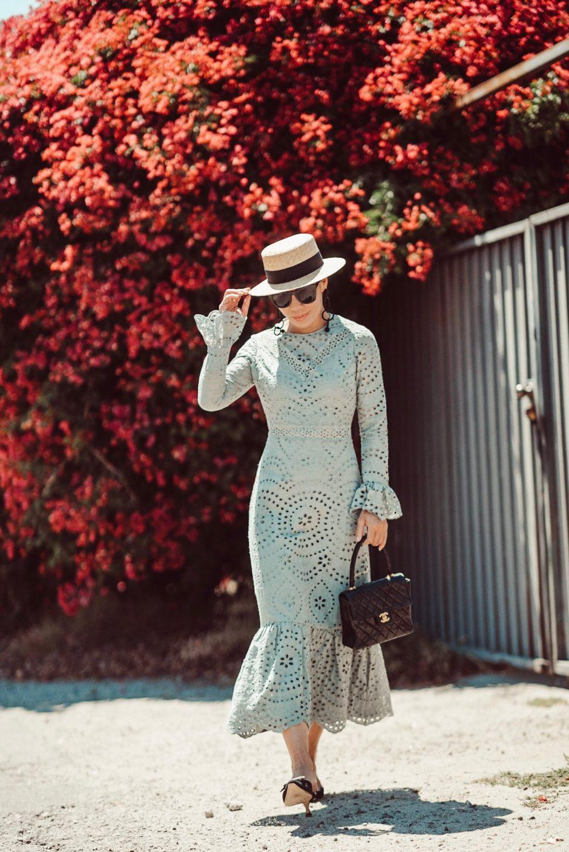 hallie daily blogger dress bag hat sunglasses jewels