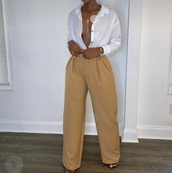 pants,brown,flare,classy,high waisted,camel