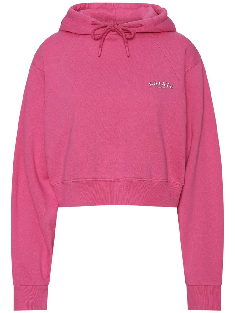 ROTATE Sunday Capsule Viola Crop Cotton Hoodie in pink