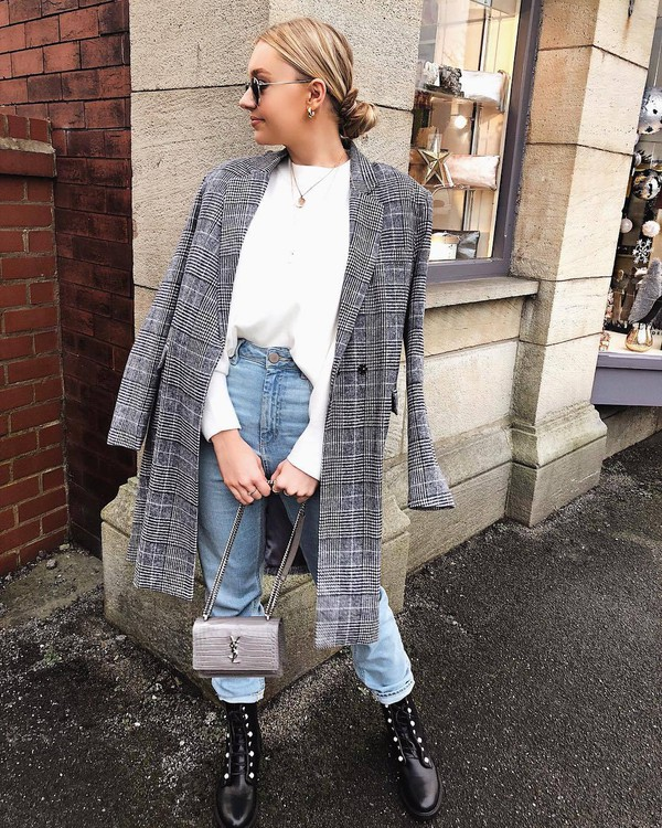 coat grey coat plaid black boots lace up boots jeans ysl bag silver bag white top
