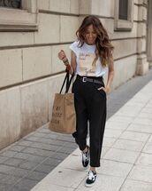 pants,black pants,zara,sneakers,vans,white t-shirt,bag