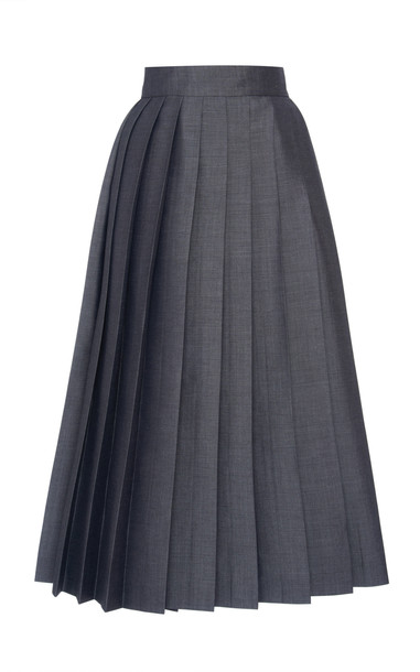 Prada Pleated Tie Back Mohair Wool Midi Skirt Size: 36 in grey