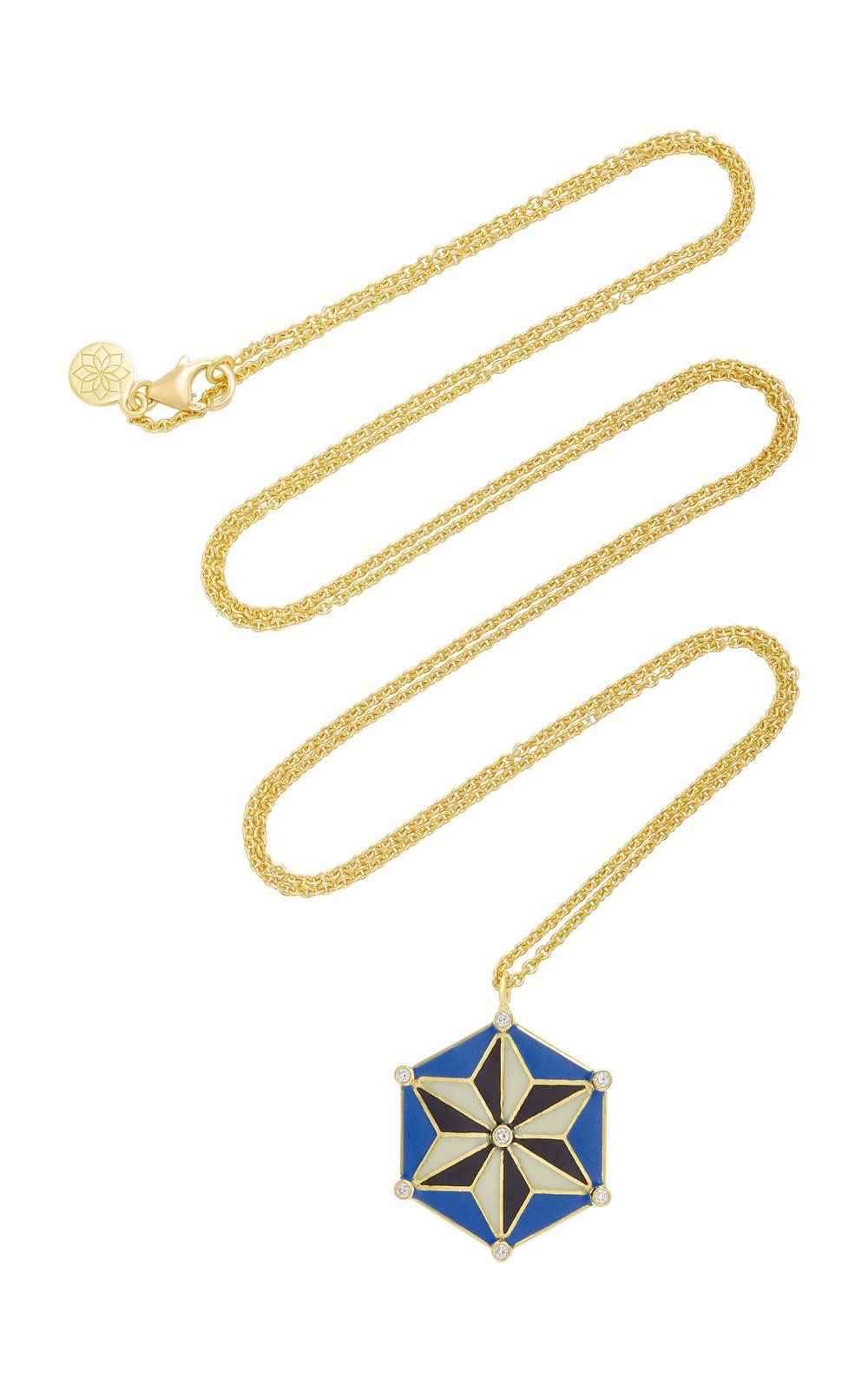 Amrapali 18K Gold and Enamel Star Necklace in black