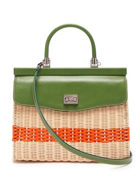 Rodo - Leather And Wicker Top Handle Bag - Womens - Green Multi