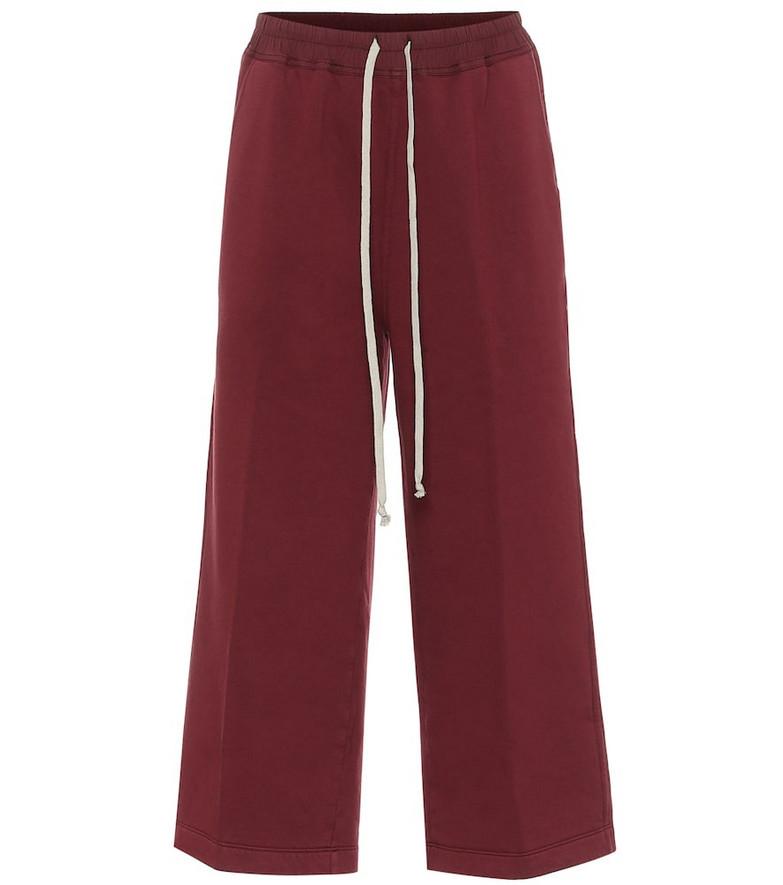 Rick Owens DRKSHDW Felpa cropped cotton sweatpants in red