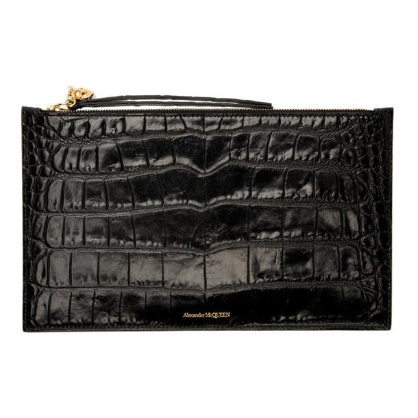 Alexander McQueen Black Croc Zip Tech Pouch