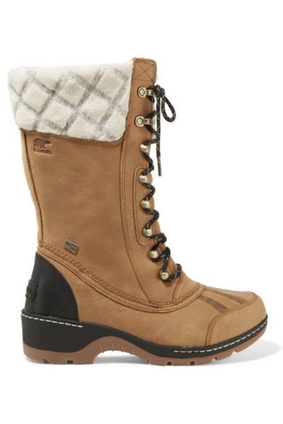 Sorel - Whistler Wool-trimmed Waterproof Leather Boots - Tan