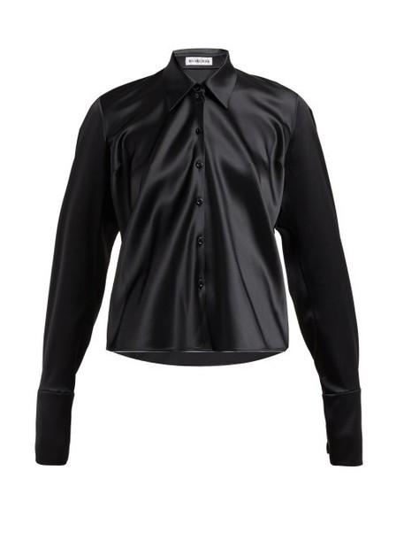 Balenciaga - Point Collar Satin Blouse - Womens - Black
