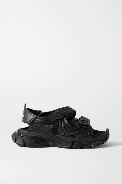 BALENCIAGA - Track Logo-detailed Leather And Rubber Sandals - Black