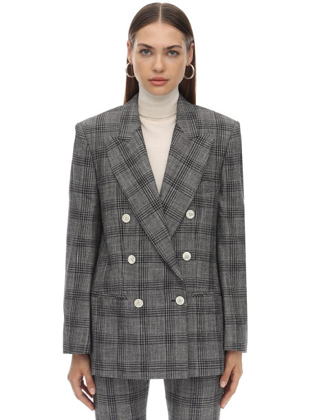 ISABEL MARANT Deagan Checked Cotton Blend Jacket in grey