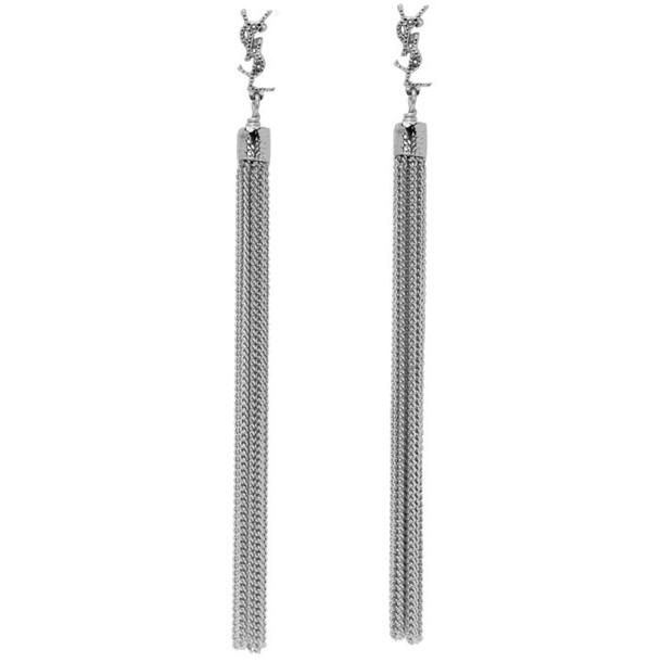 Saint Laurent Silver Loulou Tassel Earrings