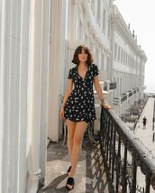 romper,black romper,floral,slide shoes