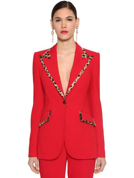 DOLCE & GABBANA Leopard Details Wool Blazer