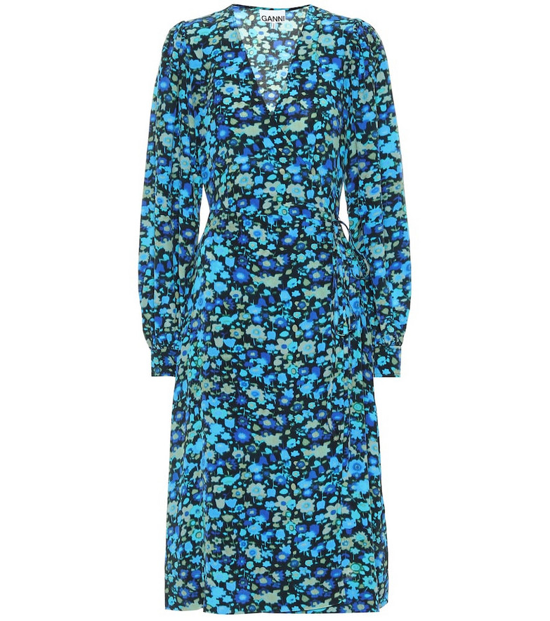 Ganni Floral silk-blend midi dress in blue