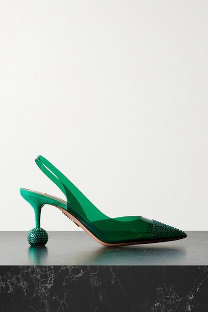 Aquazzura - Nights 75 Crystal-embellished Pvc Slingback Pumps - Green