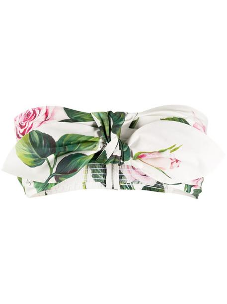 Dolce & Gabbana Tropical Rose print bandeau top in white