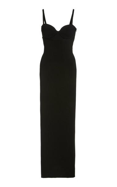 Brandon Maxwell Midi Length Bustier Knit Dress in black