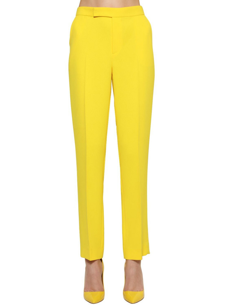 RALPH LAUREN COLLECTION Cropped Straight Leg Crepe Cady Pants in yellow