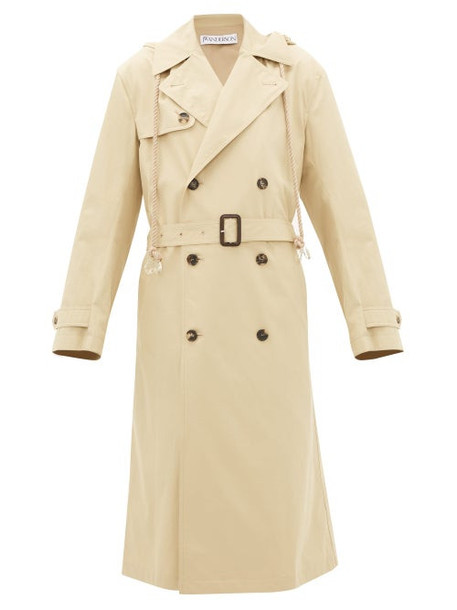 Jw Anderson - Hooded Cotton-gabardine Trench Coat - Womens - Beige