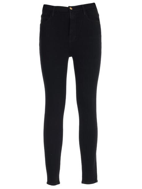 Frame Jeans Skinny Elastic High Waist in noir