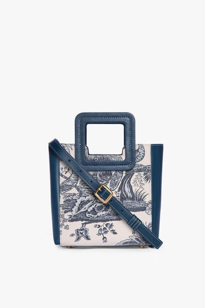Staud MINI SHIRLEY CANVAS BAG | MAJORCA BLUE TOILE