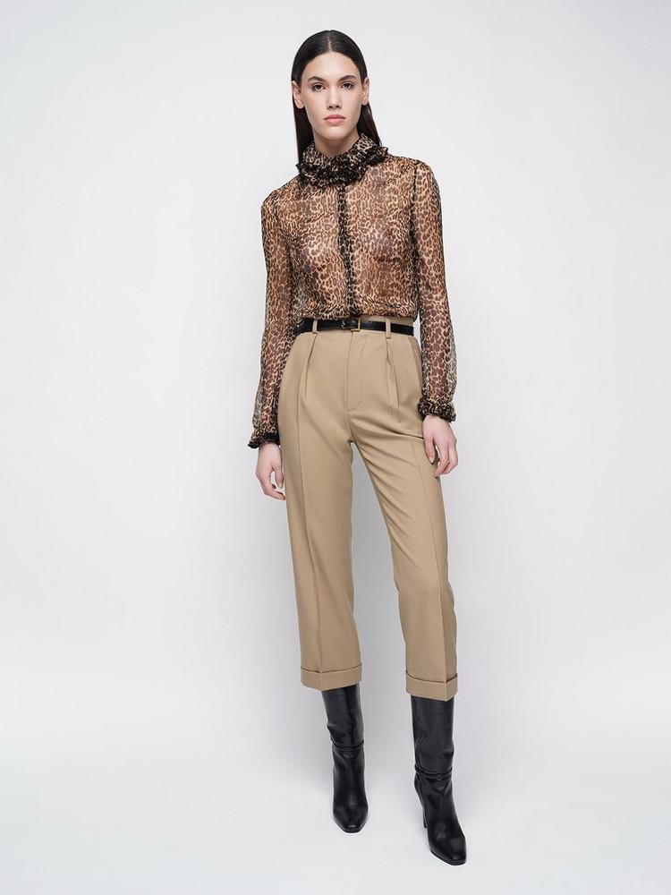SAINT LAURENT Silk Sheer Leopard Print Muslin Shirt