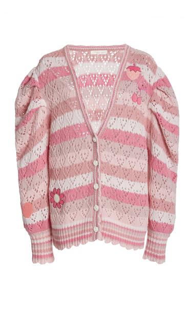 LoveShackFancy Brody Oversized Striped Knit Cardigan in pink
