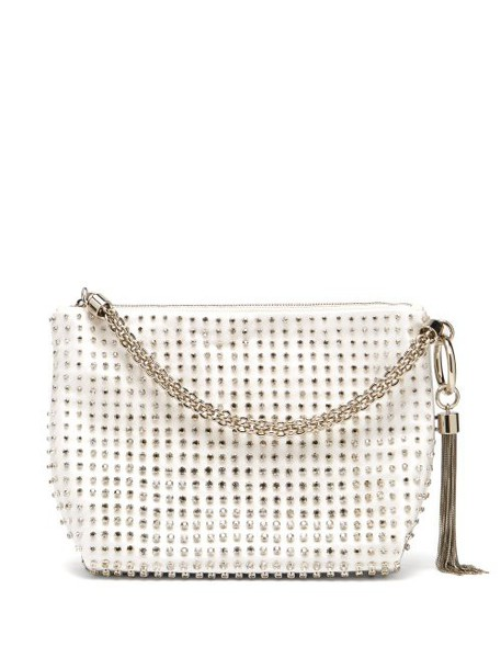 Jimmy Choo - Callie Crystal Embellished White Satin Purse - Womens - White Multi