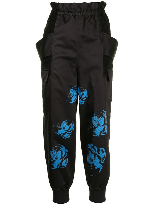Undercover rose-print cargo trousers in black