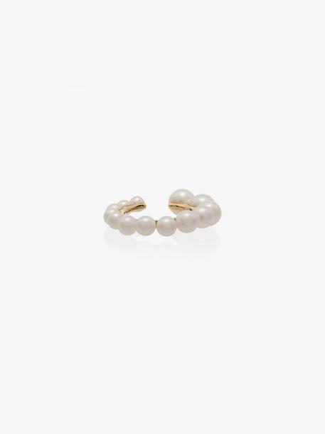 Yvonne Léon 18K yellow gold pearl ear cuff