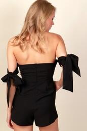 romper,black,short,back zipper,hidden zipper,strapless