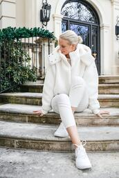 style archives | the style scribe,blogger,jacket,top,underwear,leggings,shoes,sneakers,nike sneakers,white leggings,faux fur jacket