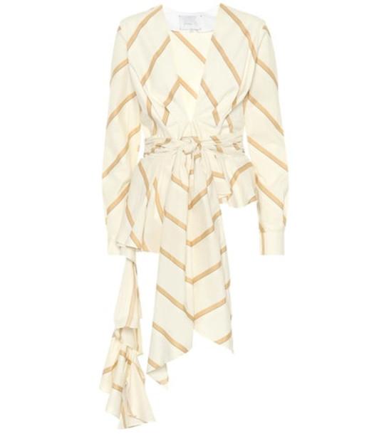 Johanna Ortiz Party Wave striped cotton top in beige / beige