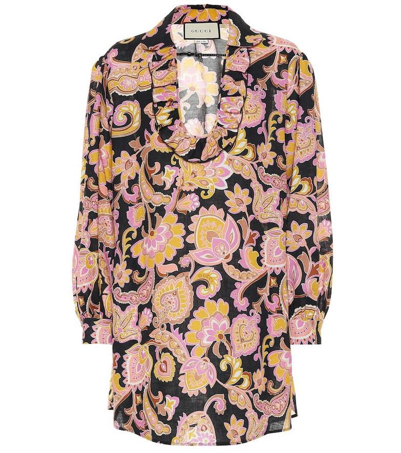 Gucci Floral linen blouse