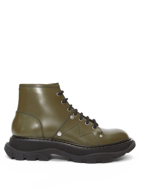 Alexander Mcqueen - Lace-up Patent-leather Military Boots - Womens - Khaki
