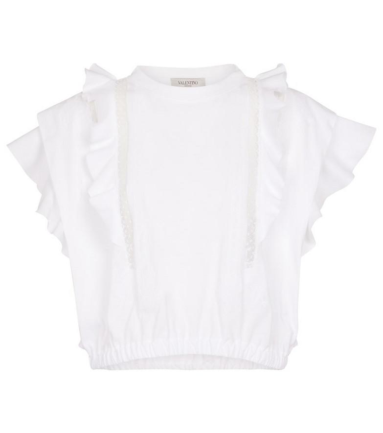 Valentino ruffled cotton T-shirt in white