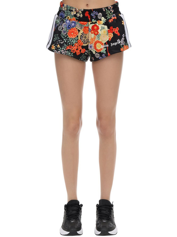 PALM ANGELS Printed Tech Jersey Shorts in black / multi