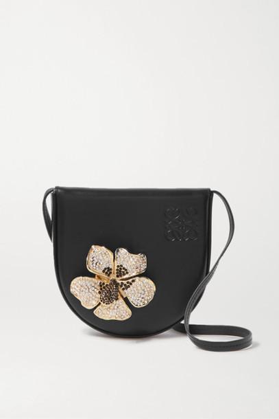 Loewe - Heel Small Crystal-embellished Leather Shoulder Bag - Black