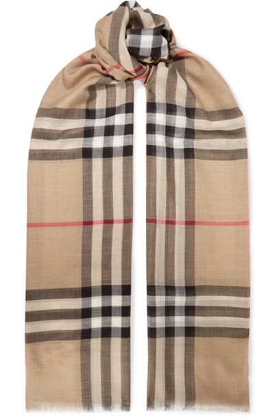 Burberry - Frayed Checked Wool And Silk-blend Scarf - Beige