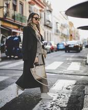 coat,long coat,black coat,white sneakers,plaid blazer,plaid,pants,shoulder bag,turtleneck sweater