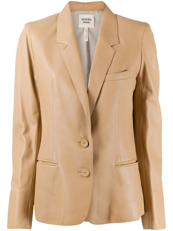 Hermès pre-owned notched lapels leather blazer in neutrals