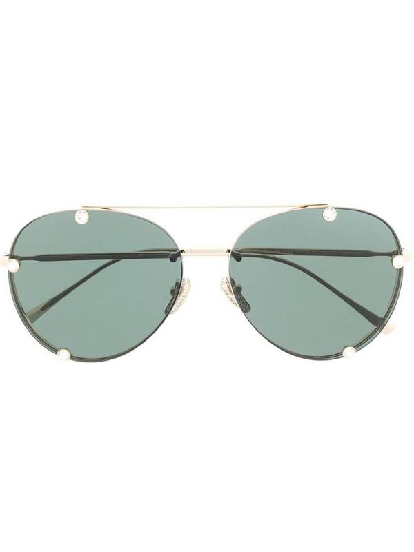 Valentino Eyewear rhinestone-embellished aviator sunglasses in gold
