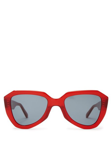 Celine Eyewear - Aviator Acetate Sunglasses - Womens - Red Multi