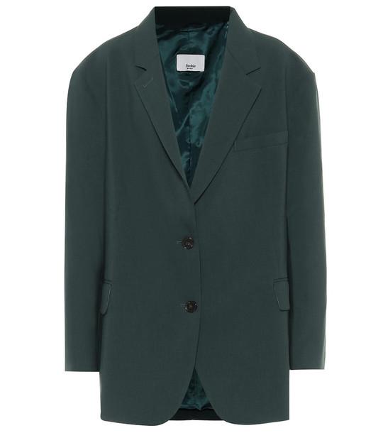 Frankie Shop Bea stretch-twill blazer in green