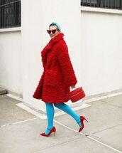 coat,red coat,faux fur coat,pumps,tights,boxed bag,headband