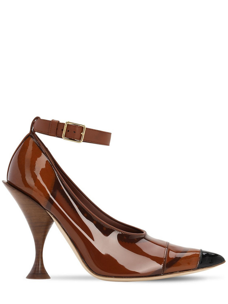 BURBERRY 105mm Evan Patent Leather Pumps in brown